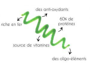 La spiruline est un micro-organisme aquatique, la composition nutritionnelle est proche de celle du lait maternel.